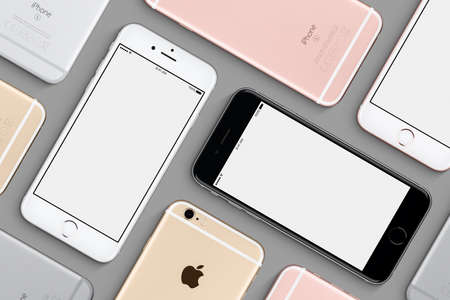 Set of Apple iPhones 6s mockup flat lay top view