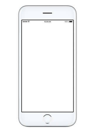 Directly front view of a modern white mobile smart phone mockup with blank screen isolated on white background. High-quality studio shot.
