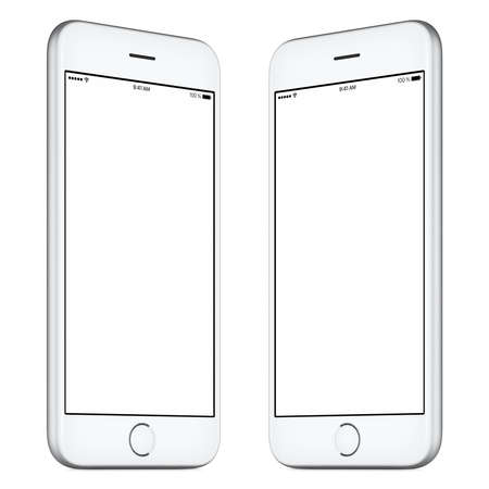 rotated: White mobile smartphone mockup. This mockup includes both sides of slightly rotated white smartphone with blank template screen. You can use this mockup for portfolio or design presentation.
