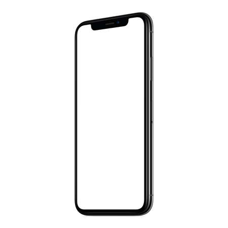 New modern smartphone mockup CW slightly rotated isolated on white background