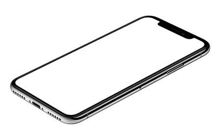 Smartphone mockup CW rotated lies on surface isolated on white background