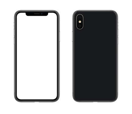 Smartphone mockup front and back side. New modern black frameless smartphone mockup with blank white screen and back side with camera. Isolated on white background. Archivio Fotografico