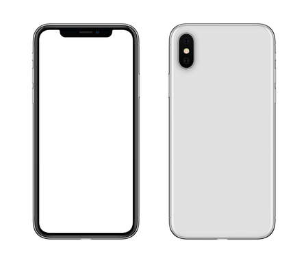 New modern white smartphone mockup front and back sides isolated on white background