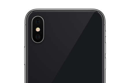 Close up black smartphone back side with camera module isolated on white background