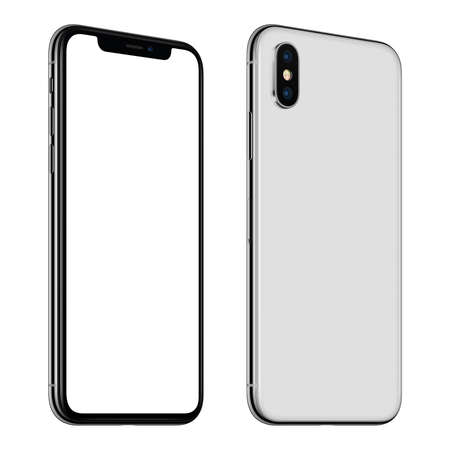 New white smartphone mockup front and back sides CCW rotated isolated on white background Archivio Fotografico