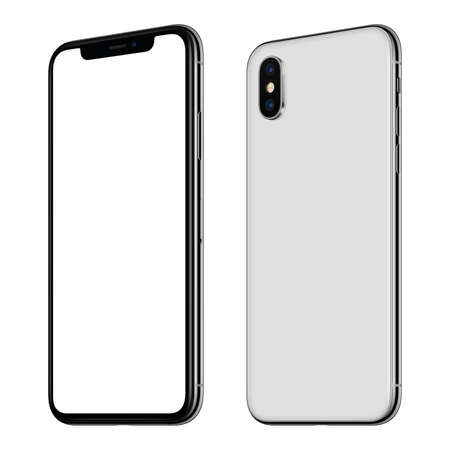 New white smartphone mockup front and back sides CW rotated isolated on white background