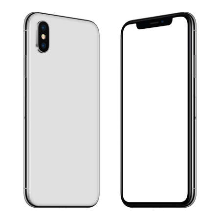 New white smartphone mockup front and back sides rotated and facing each other Archivio Fotografico