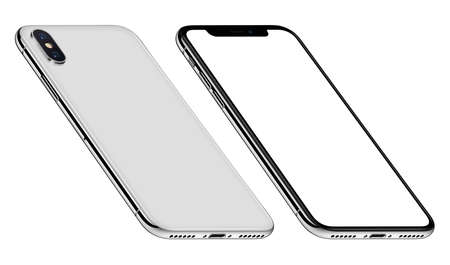 White perspective smartphone mockup front and back sides CCW rotated