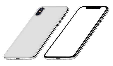 White perspective smartphone mockup front and back sides CW rotated