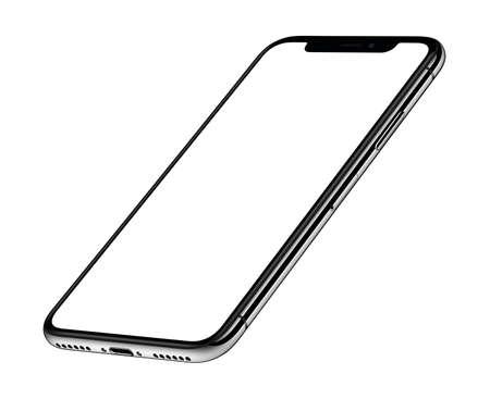 Perspectief isometrische smartphone mockup voorkant CCW gedraaid