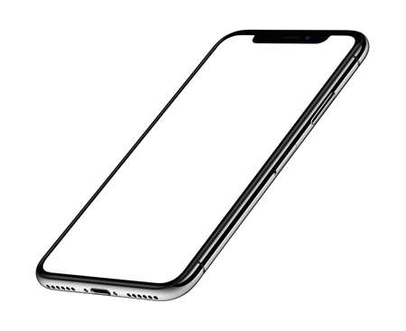 Perspective isometric smartphone mockup front side CCW rotated