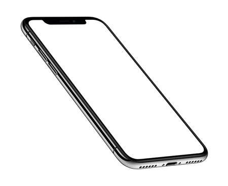 Widok perspektywiczny izometryczna makieta smartfona z przodu obrócona zgodnie z ruchem wskazówek zegara Zdjęcie Seryjne