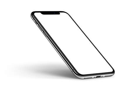 Perspective smartphone mockup with shadow CCW rotated on white background
