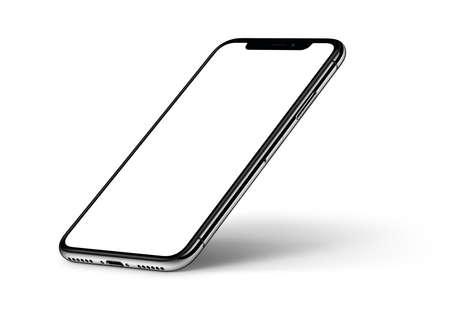 Maquete do smartphone perspectiva com sombra CW girou sobre fundo branco Foto de archivo