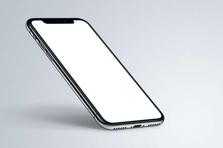 Perspective smartphone mockup with shadow on light background