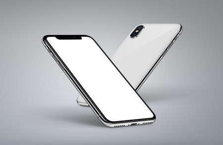 Perspective smartphones mockup back side and front side with white screen on light background Stock Photo