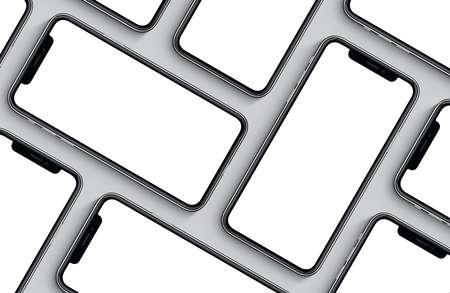스마트 폰 모형보기 평면보기 평면 패턴. 새로운 frameless 스마트 폰 전면 mockup. 스톡 콘텐츠