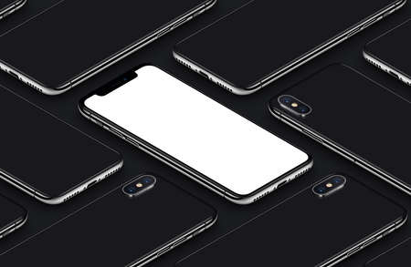 Perspective isometric smartphone mockup pattern front side and back sides black poster Stock Photo