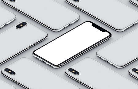 Perspective isometric smartphone mockup pattern front side and back sides white poster