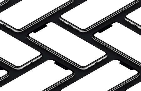 Perspectiva isométrica smartphones preto frente maquete de lados