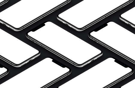 Perspective isometric black smartphones front sides mockup