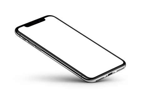 Perspectief weergave smartphone mockup met leeg scherm rust op een hoek Stockfoto - 94535574