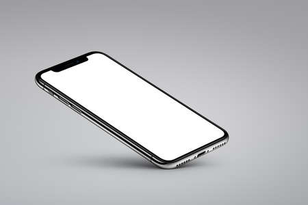 Perspective veiw smartphone mockup rests on one corner on gray background Foto de archivo