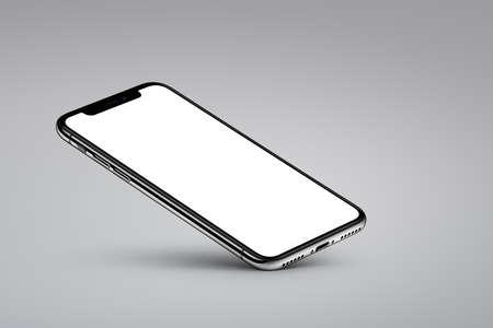 Perspective veiw smartphone mockup rests on one corner on gray background Archivio Fotografico