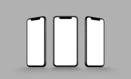 Smartphone multi screen mockup on gray background