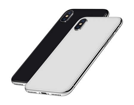 Black and white perspective smartphones back sides with camera modules one behind the other Stock Photo