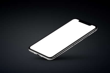Perspective veiw smartphone mockup rests on one corner on black background