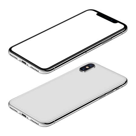 White smartphone mockup front and back sides isometric view CW rotated lies on surface