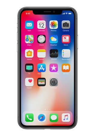 New Apple iPhone X front view on white background