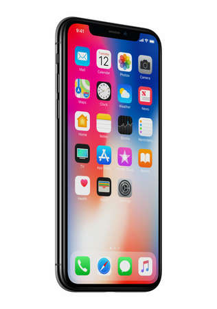 New Apple iPhone X front view slightly rotated isolated on white background Editorial