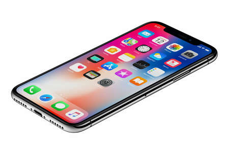 Perspective view new Apple iPhone X smartphone isolated on white background Editorial