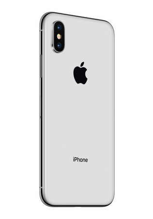 Silver Apple iPhone X back side slightly rotated isolated on white background