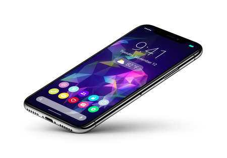 Perspective veiw smartphone concept with material design flat UI interface rests on one corner