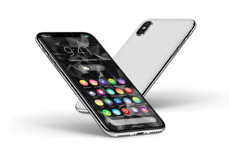 Perspective white smartphones with material design flat UI interface front side and back side