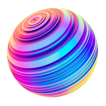Holographic abstract twisted shape ribbed sphere design element