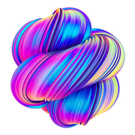 Abstract trendy holographic color twisted shape design element