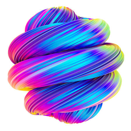 Abstract holographic metallic twisted shape