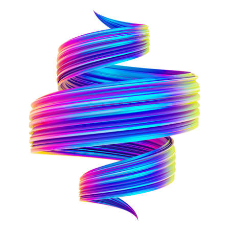 Bright holographic abstract spiral twisted shape 3D brush stroke