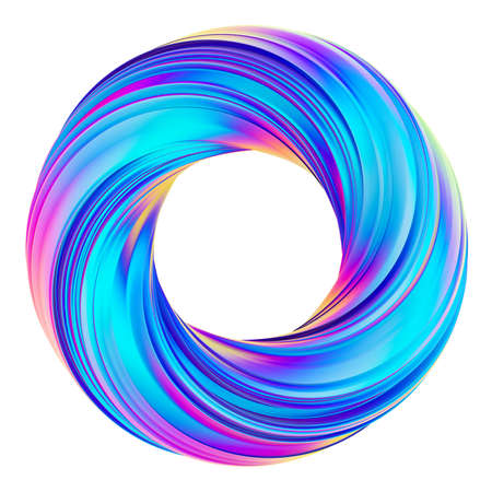3D rendering of holographic abstract circle twisted shape