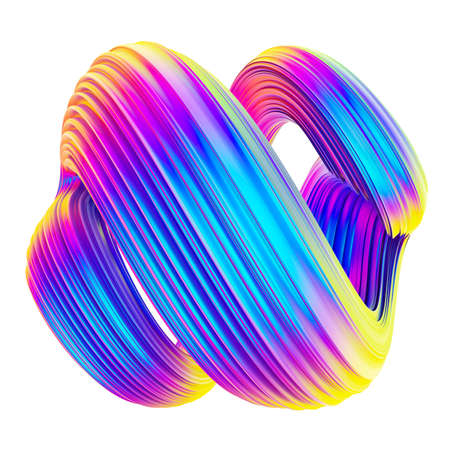 Fluid holographic foil twisted shape design element