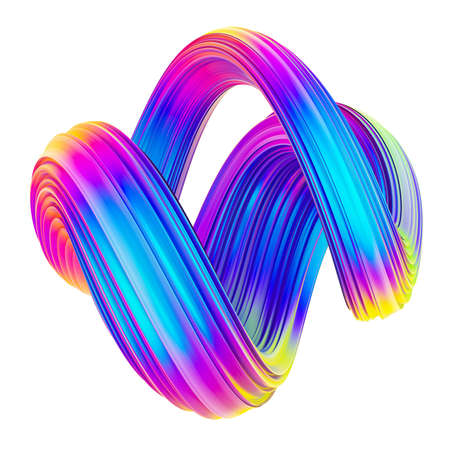 Fluid twisted shape trendy neon holographic colored design element