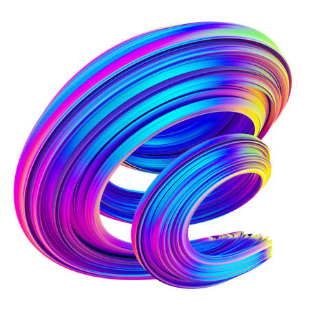 Neon and holographic colored 3d twisted shape