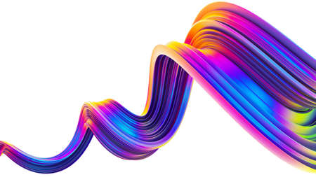 3D wavy bright abstract design element in holographic neon trendy colors. Twisted shape ribbon brush stroke with spiral motion. Design element for Christmas celebration banners and posters. 3D render. Stock Photo