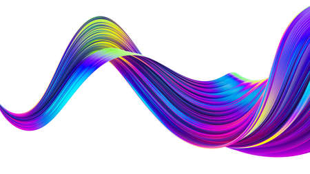 Liquid spiral ribbon with glossy bright holographic neon trendy colors. Twisted shape in motion on isolated background. Design element for Christmas banners and posters. 3D rendering.