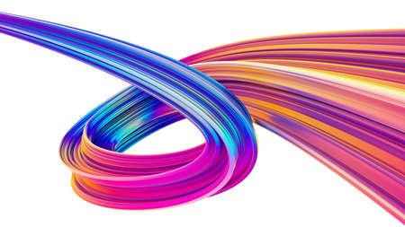 Holographic colored abstract twisted shape for trendy Christmas backgrounds Stock Photo