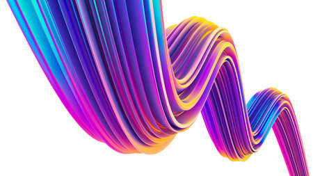 Holographic ultra violet fluid 3D shape for Christmas backgrounds. 90s style twisted shape for posters, flyers, banners, backgrounds. 3D rendering.